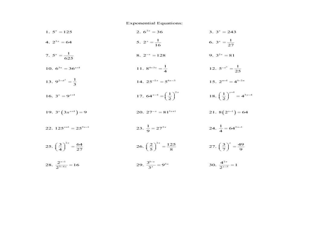 16 2 Solving Exponential Equations Answer Key - Tessshebaylo