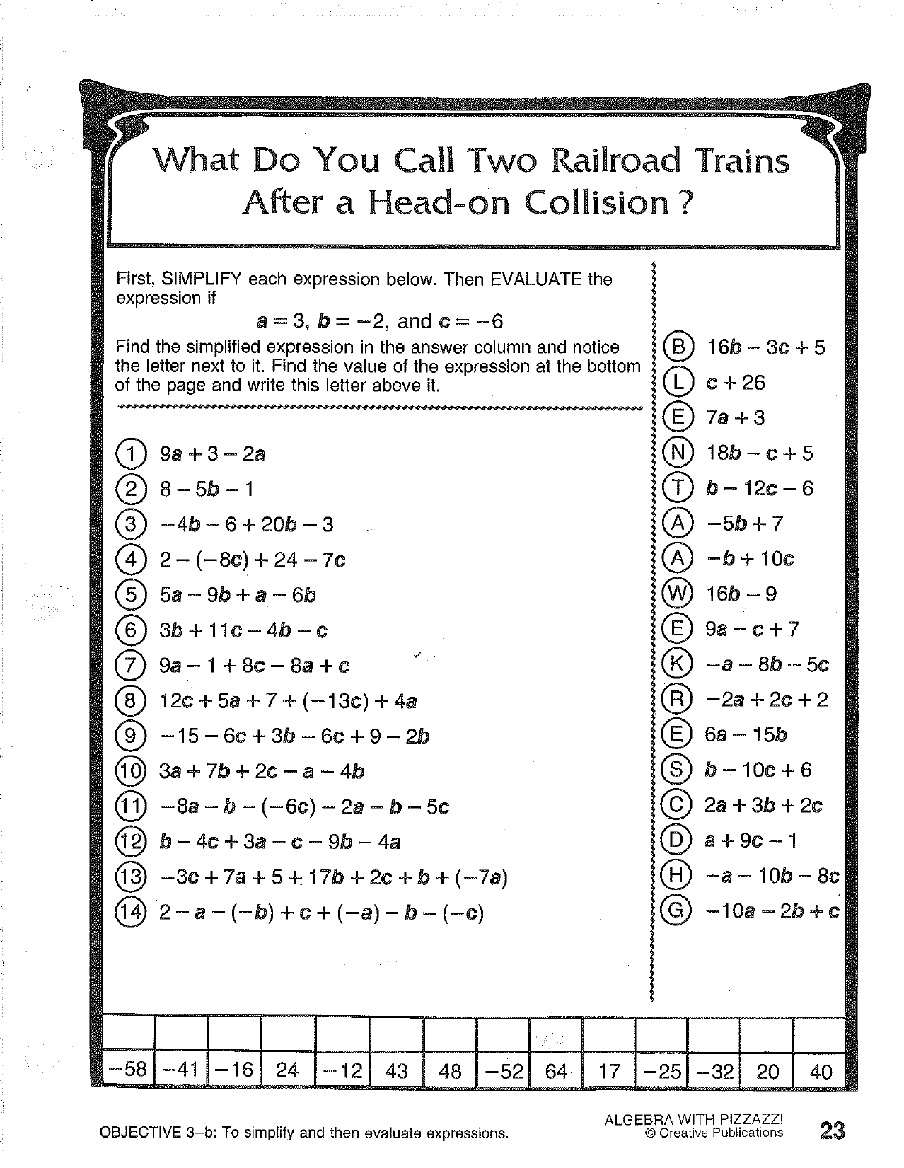 1989 Creative Publications Math Worksheet Answers