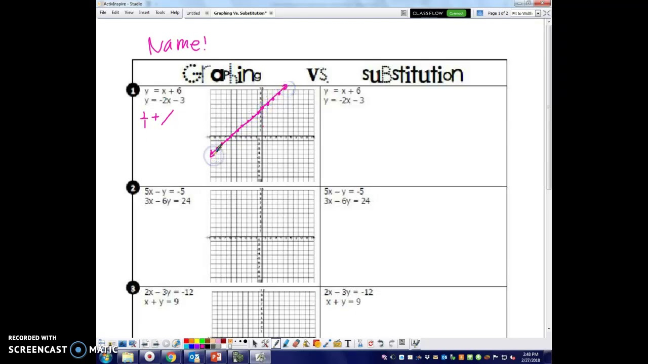 2-28-18 Graphing Vs. Substitution