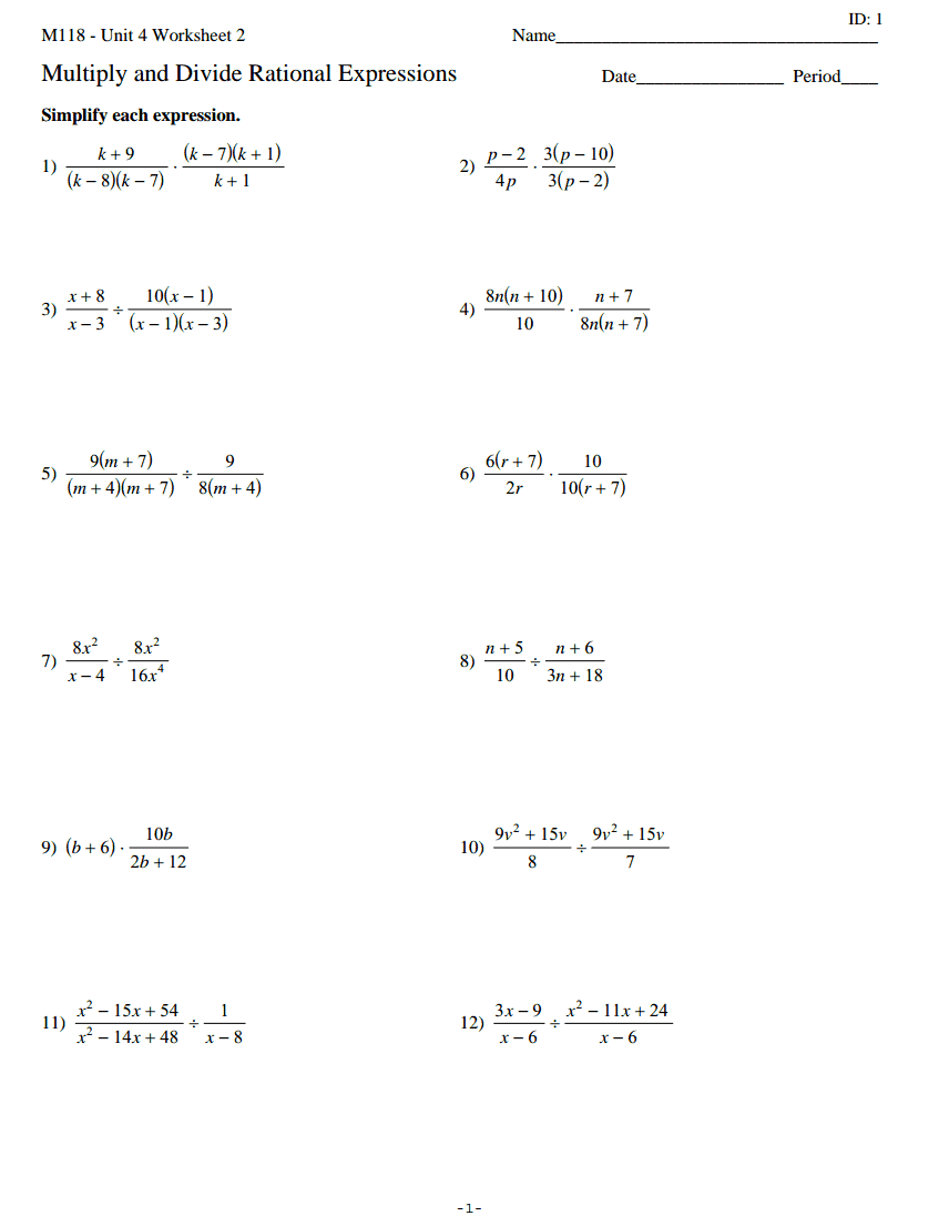 29 Simplifying Multiplying And Dividing Rational Expressions