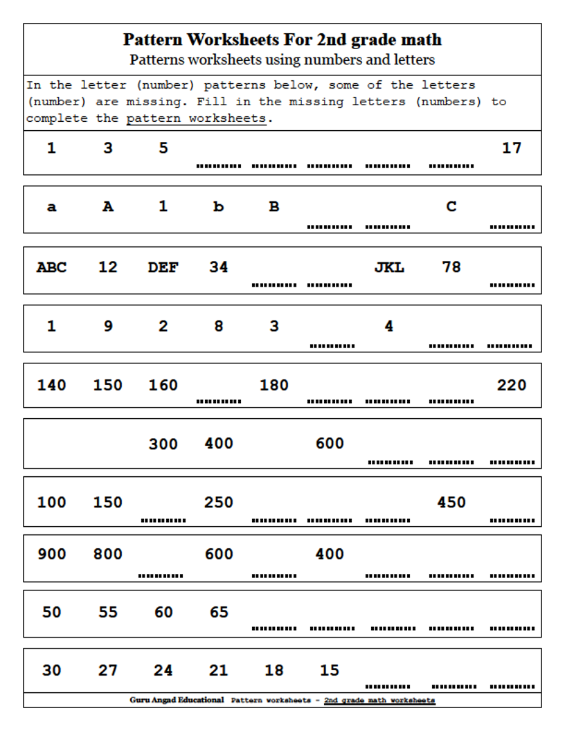 2Nd Grade Math - Patterns Worksheets Using Numbers And