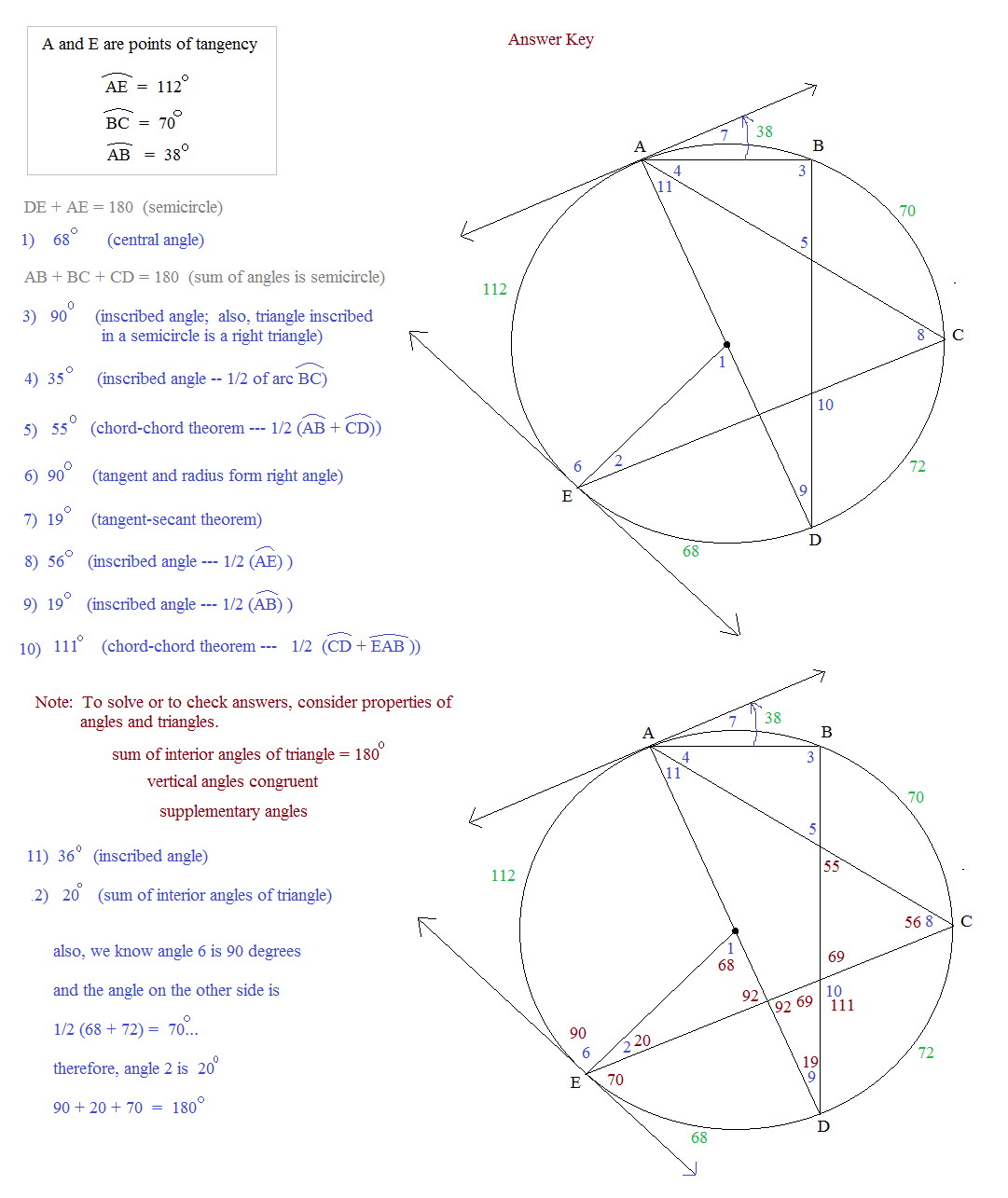 32 Arcs Central Angles And Inscribed Angles Worksheet