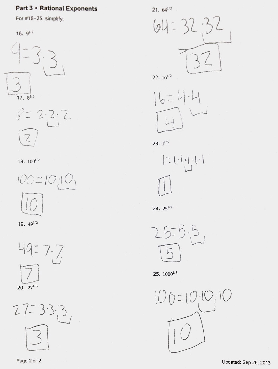 33 Radical Expressions And Rational Exponents Worksheet
