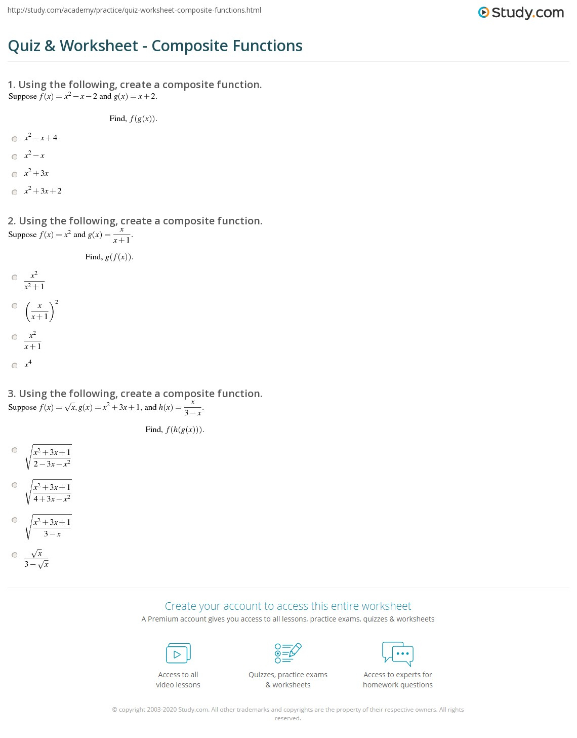 34 Compositions Of Functions Worksheet - Worksheet Project List