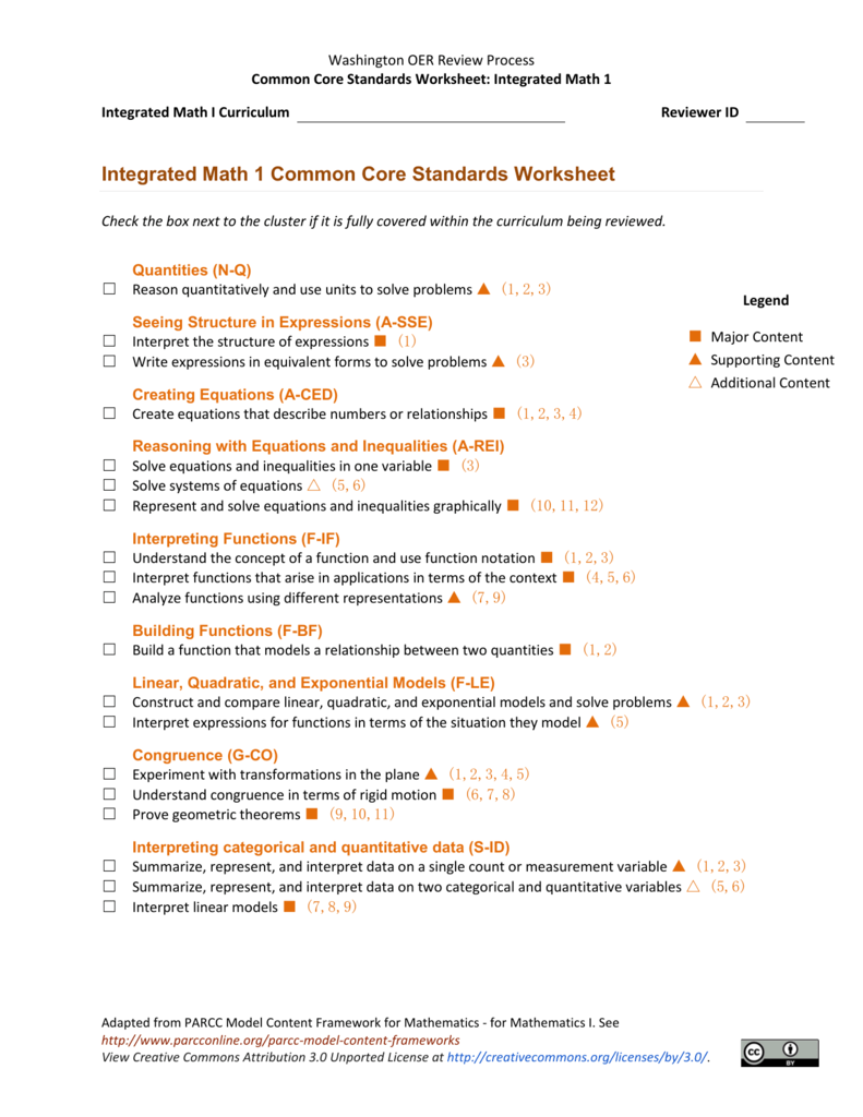 4: Integrated Math 1 Common Core Standards Worksheet