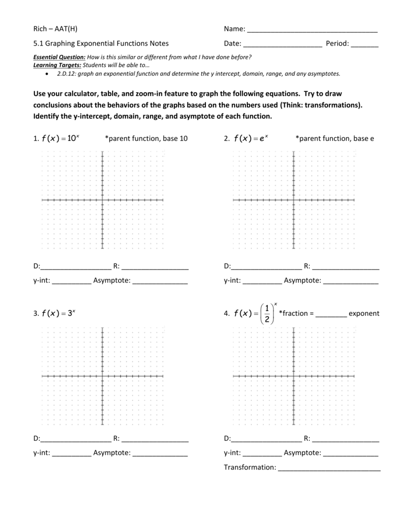 5.1 Graphing Exponential Functions Notes And Practice