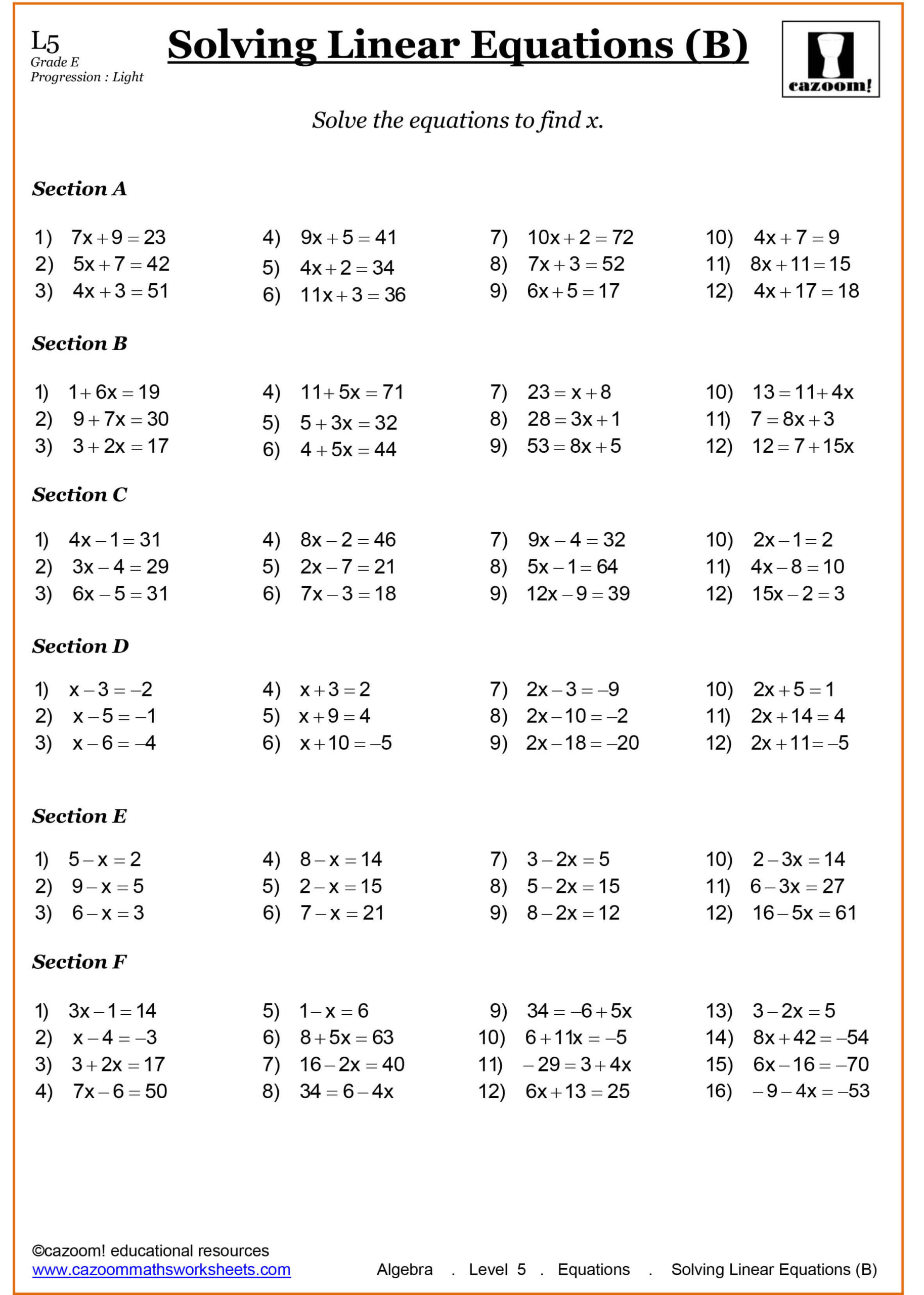 7Th Grade Math Worksheets Cazoom Free For Algebra Equations