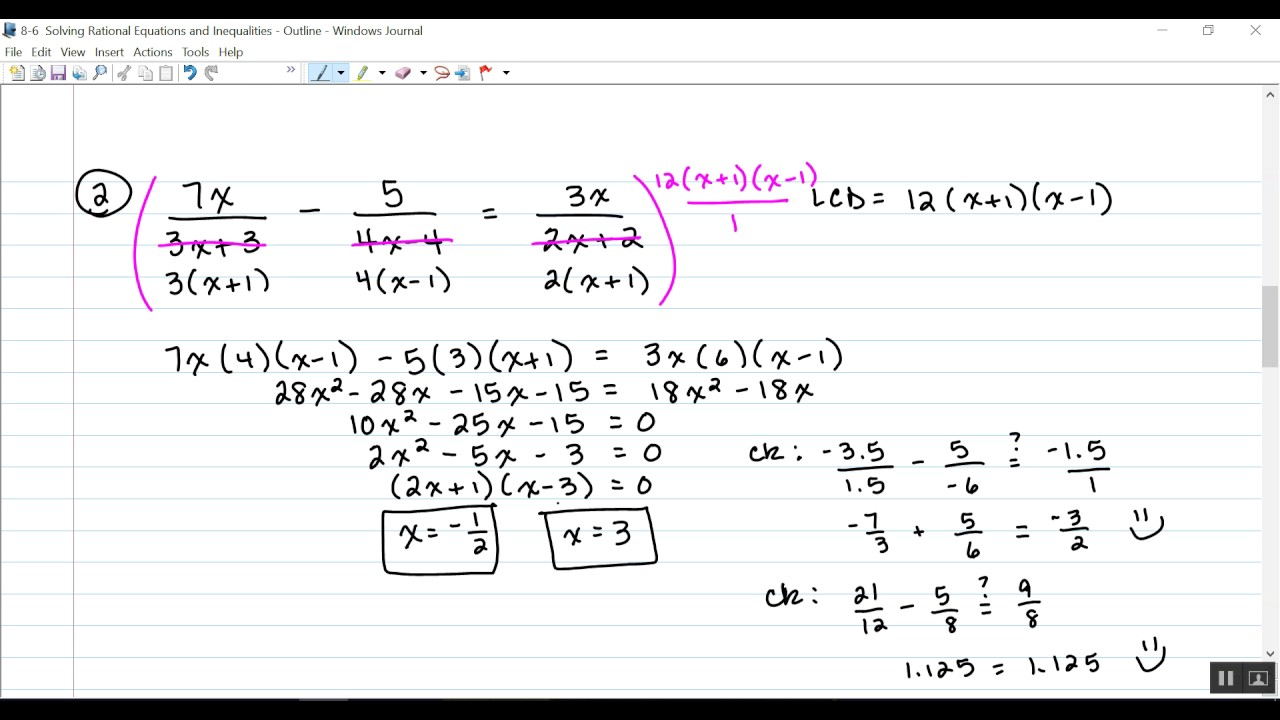 8-6 Solving Rational Equations And Inequalities