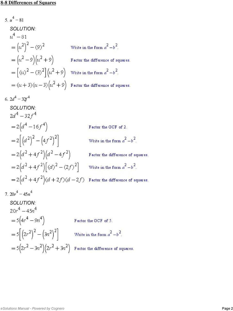 8-8 Differences Of Squares. Factor Each Polynomial. 1. X 9