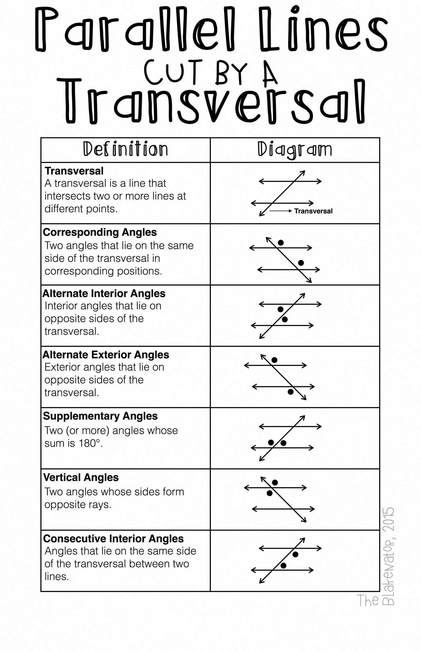 8 Accomplished Parallel Lines And Transversals Worksheet In
