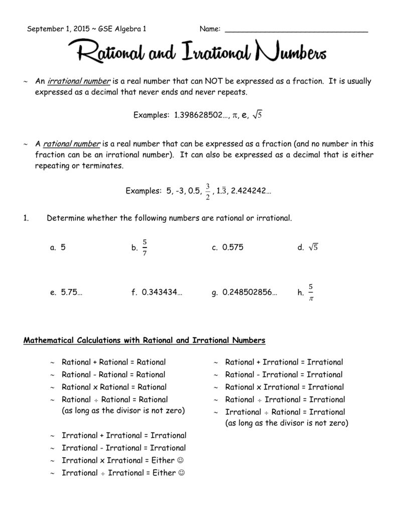 9-1-15 Rational And Irrational Numbers
