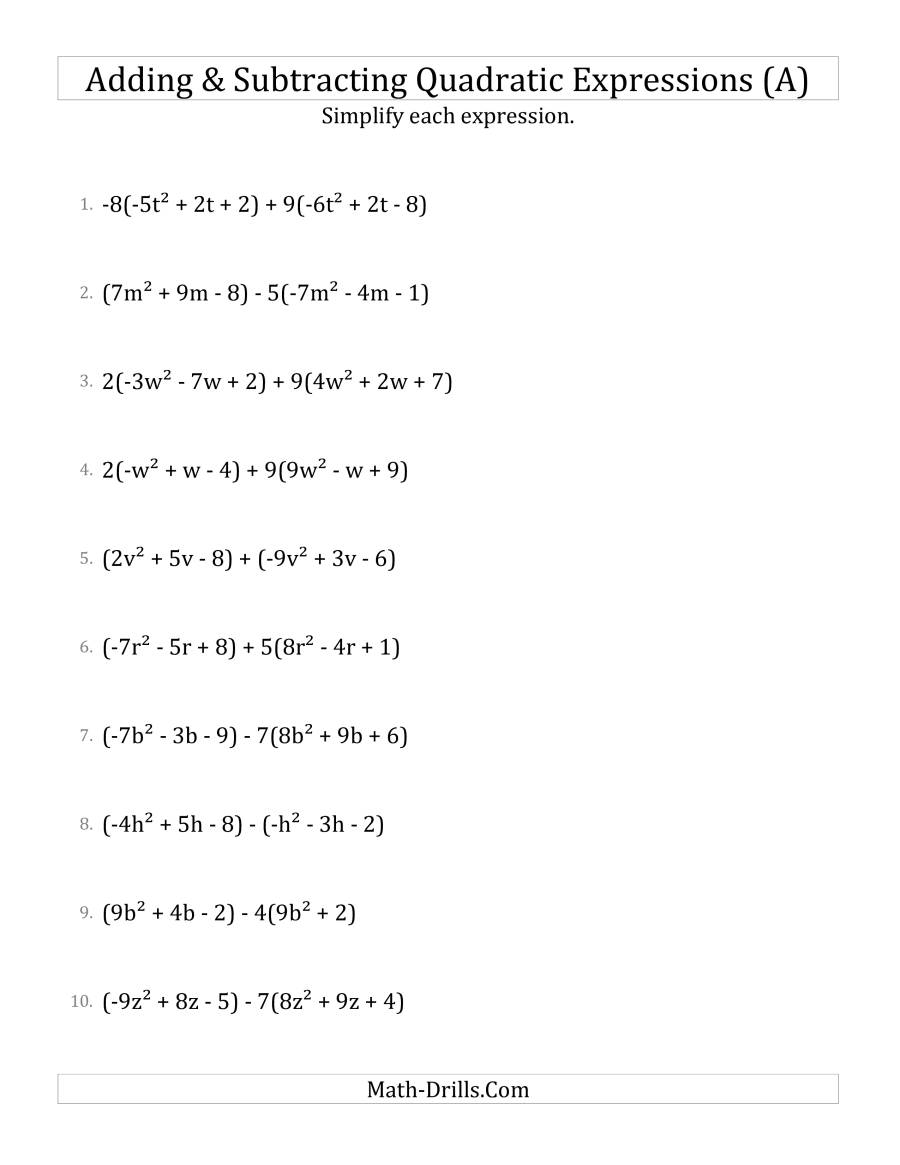 Adding And Subtracting And Simplifying Quadratic Expressions
