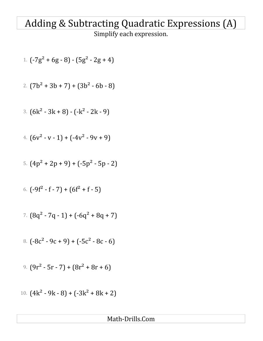 Adding And Subtracting And Simplifying Quadratic Expressions (A)