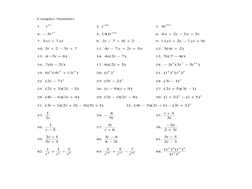 Adding And Subtracting Complex Numbers Worksheet   Kids
