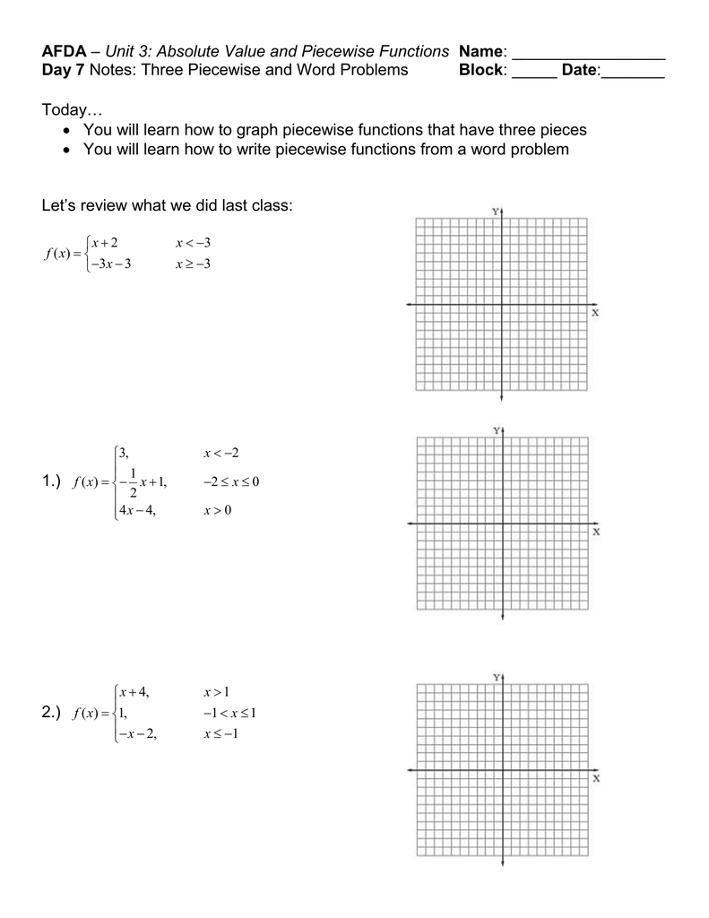 Afda Day 7 Block Unit 3: Absolute Value And Piecewise Functions