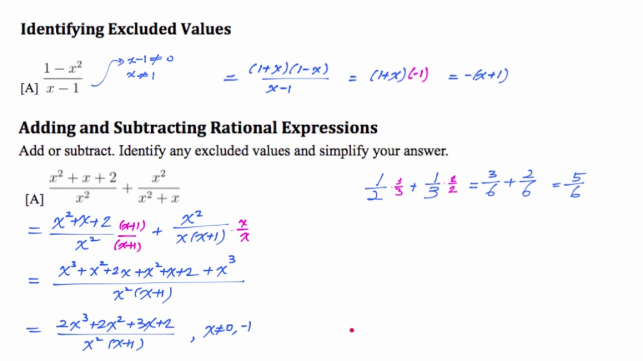 Alg2 9.1 Adding & Subtracting Rational Expressions