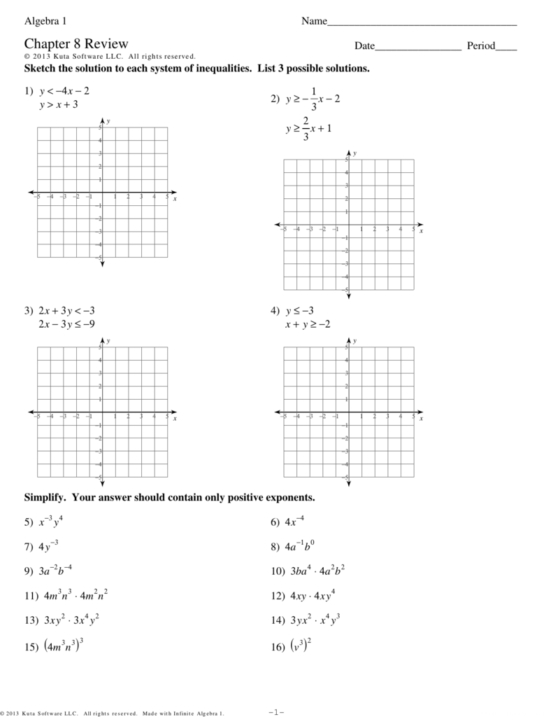 Algebra 1 - Chapter 8 Review