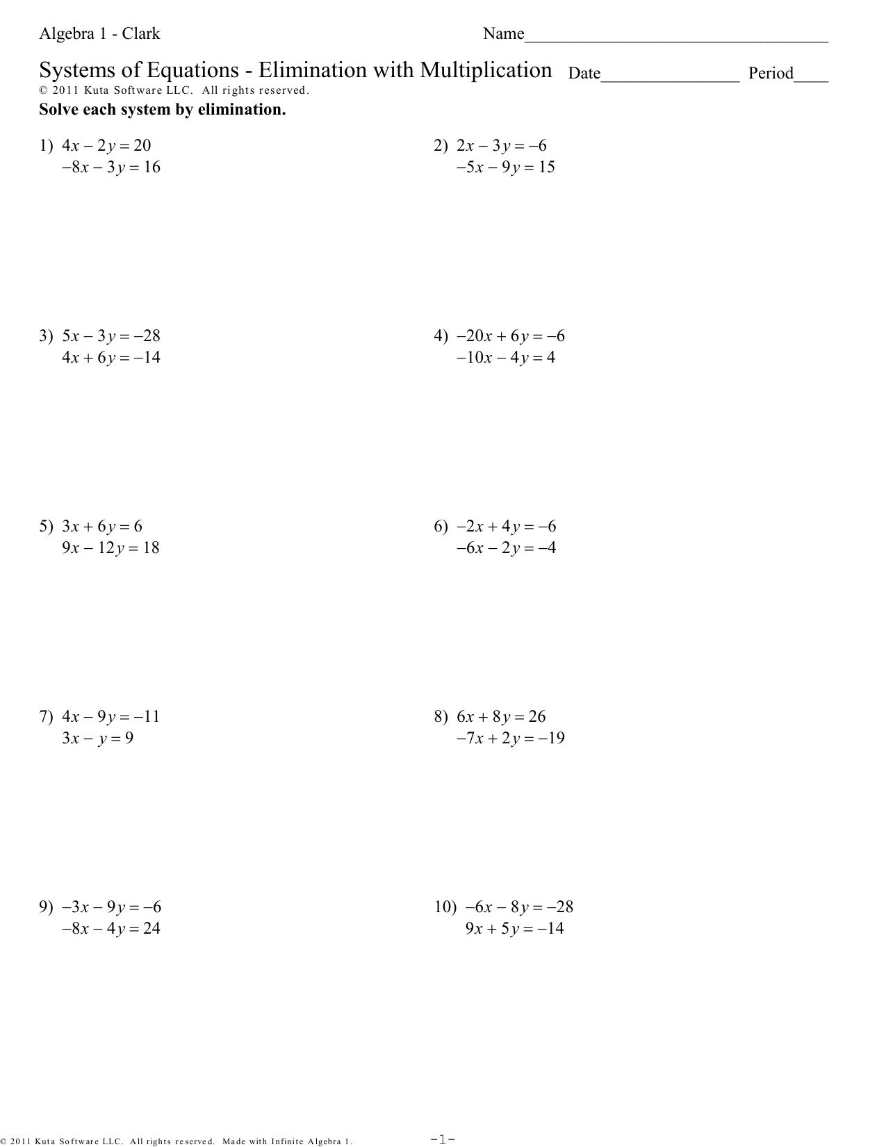 Algebra 1 - Clark - Systems Of Equations - Elimination With