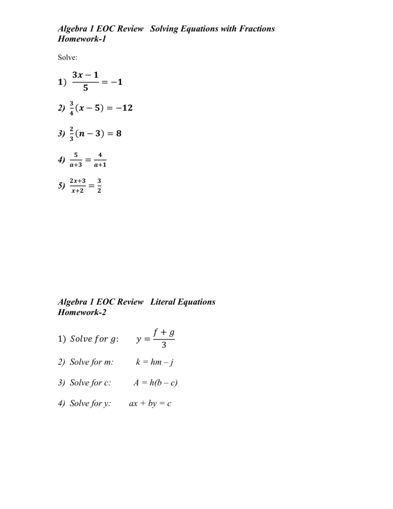 Algebra 1 Eoc Review Point-Slope Form Of Linear Equations