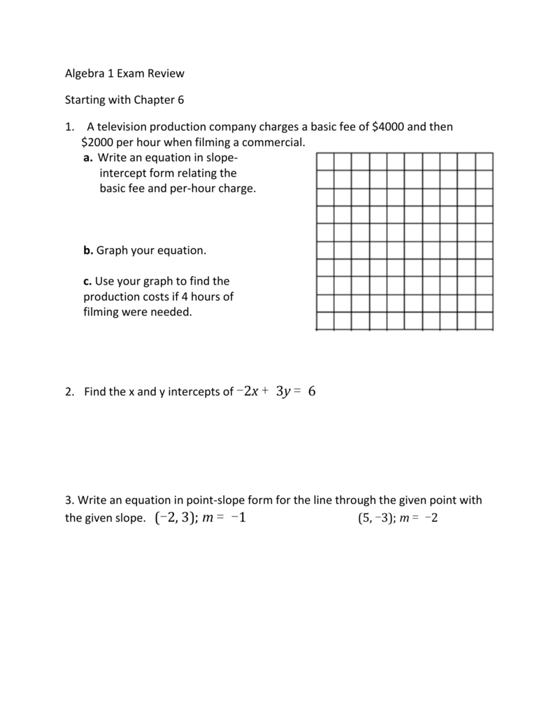 Algebra 1 Exam Review Starting With Chapter 6 1. A Television