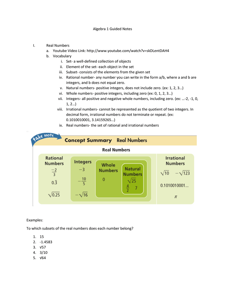 Algebra 1 Guided Notes Real Numbers