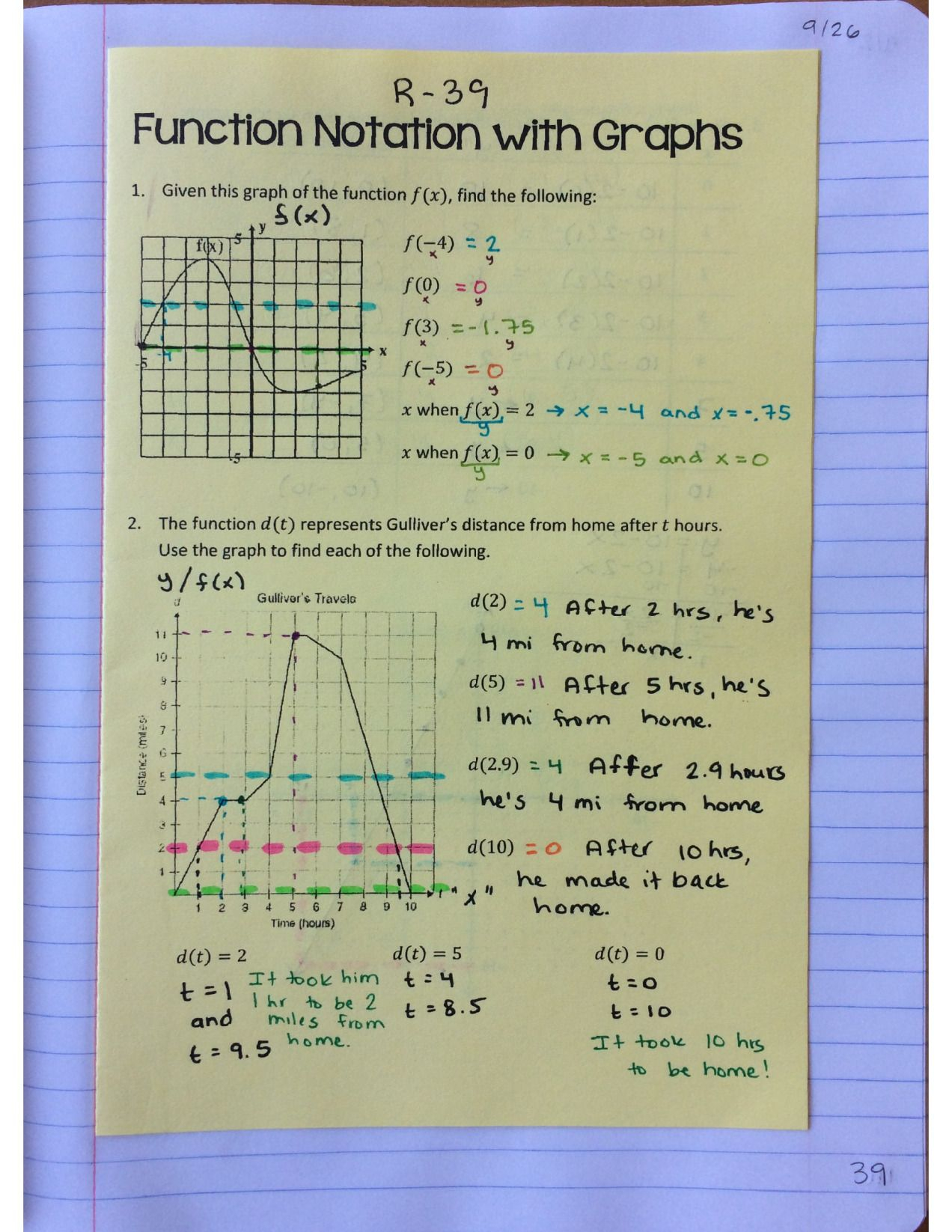 Algebra 1 Unit 2 Interactive Notebook Pages   Relations