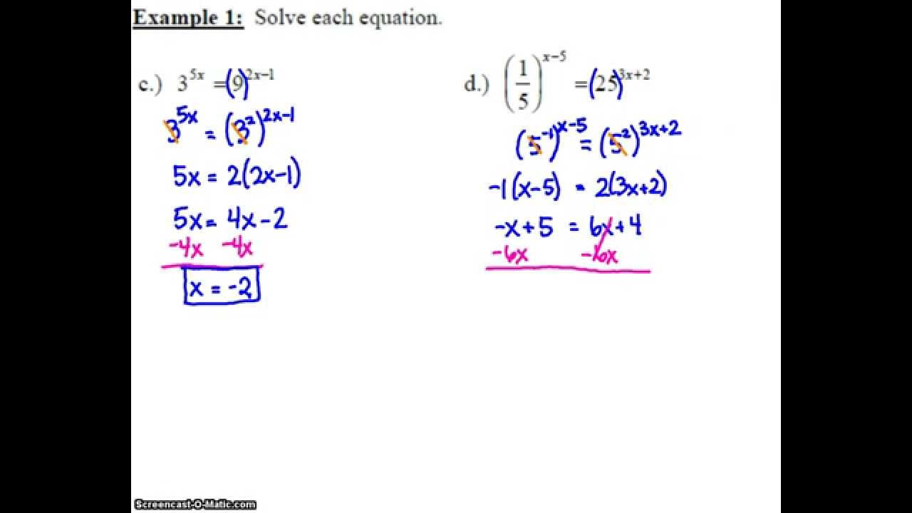 """Algebra 2: 7.2 """"solving Exponential Equations"""" - Lessons"""