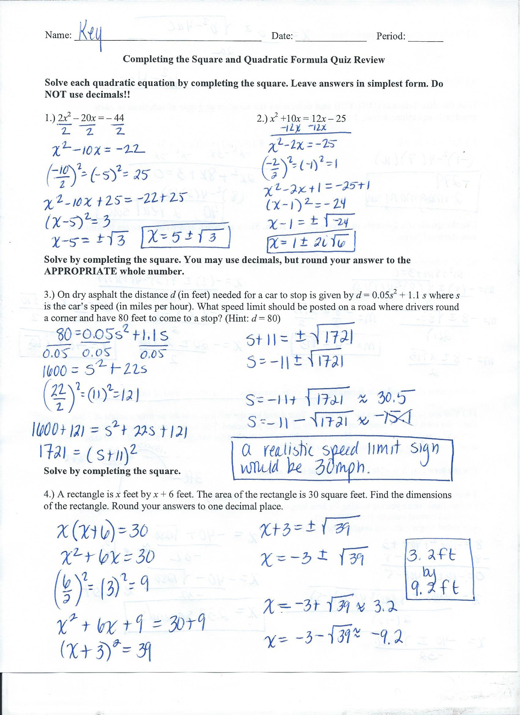 Algebra 2 College Prep - Mrs. Grigas's Class Pages