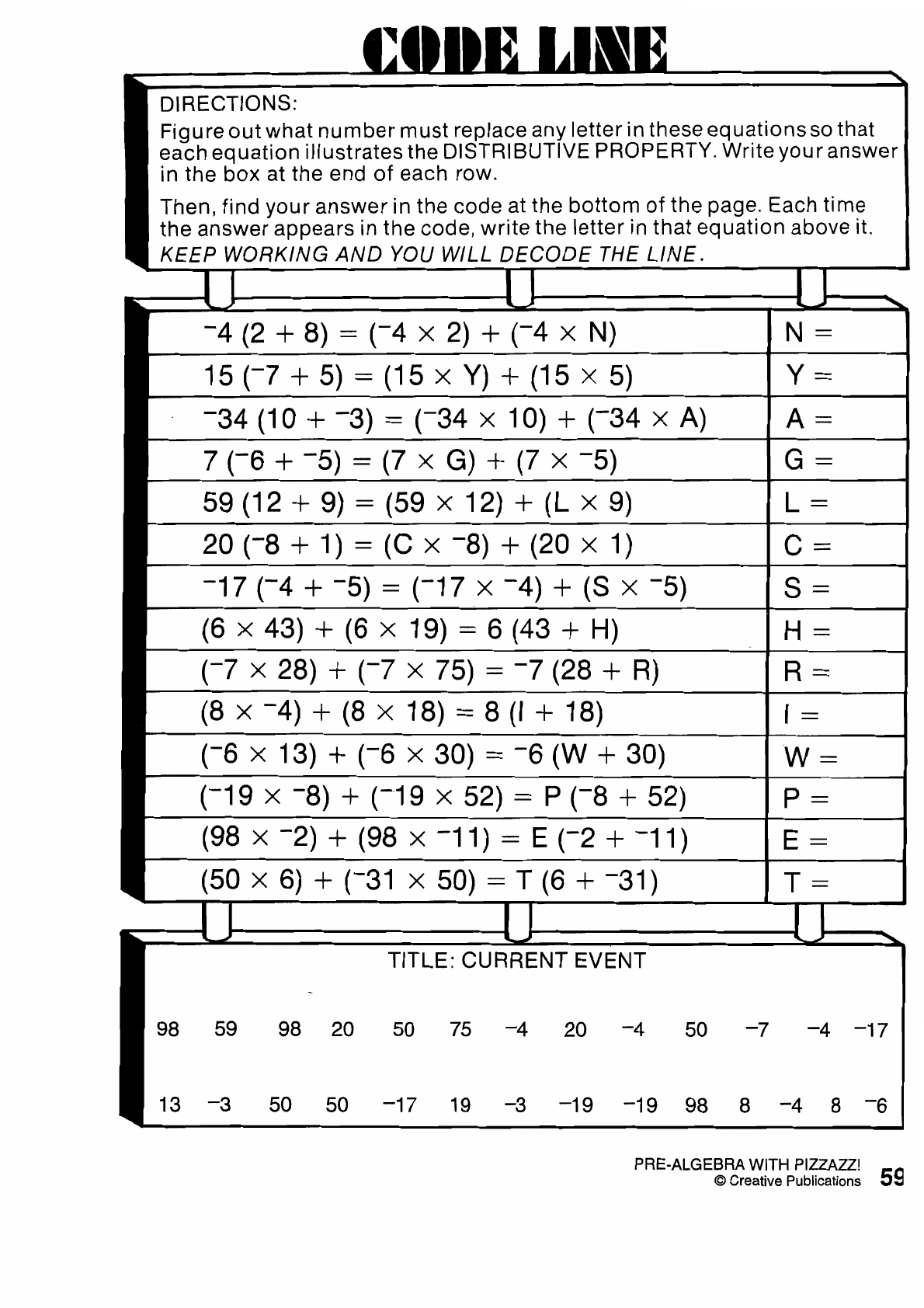 Algebra With Pizzazz Worksheet 38 | Printable Worksheets And