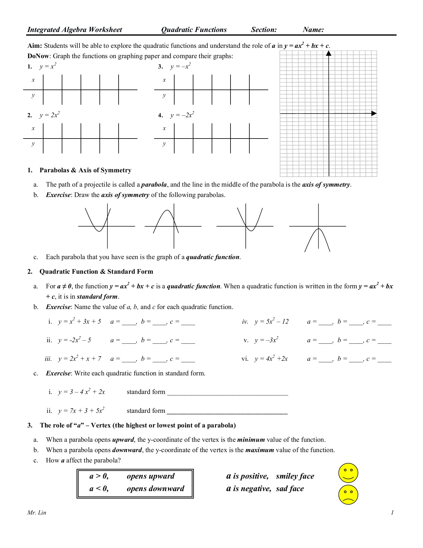 Algebra Worksheet 09 Qudratic Functions Pages 1 - 5 - Text