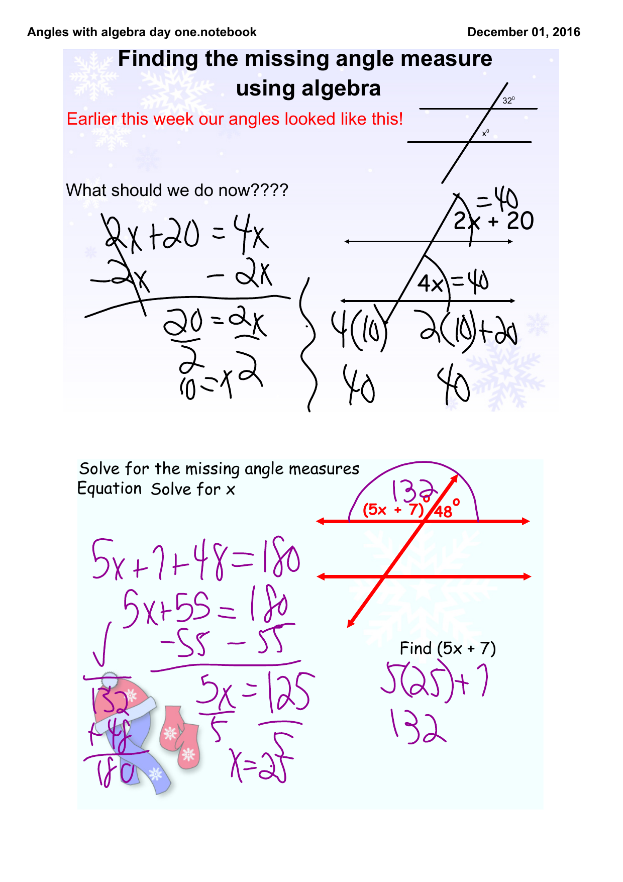 Angles With Algebra Day One.notebook