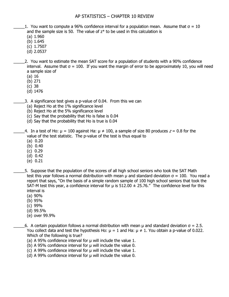 Ap Statistics – Chapter 10 Review