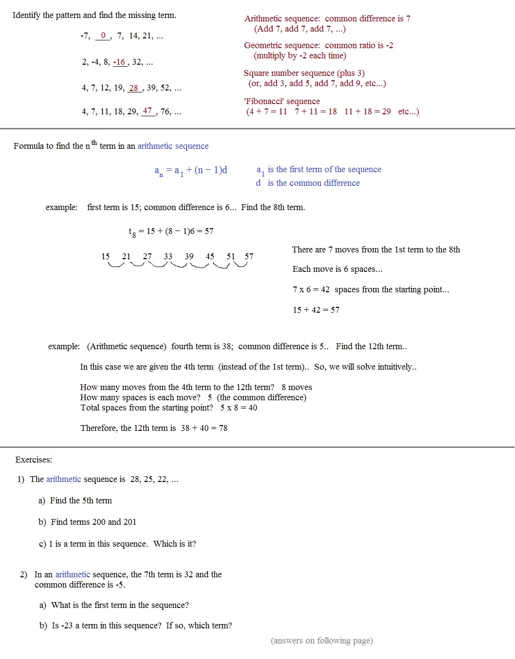 Arithmetic And Geometric Sequences And Series Worksheet Pdf