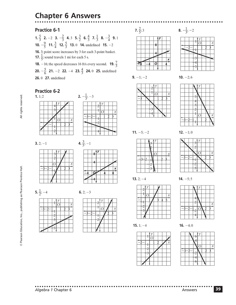 Chapter 6 Answers Practice 6-1 - 7.