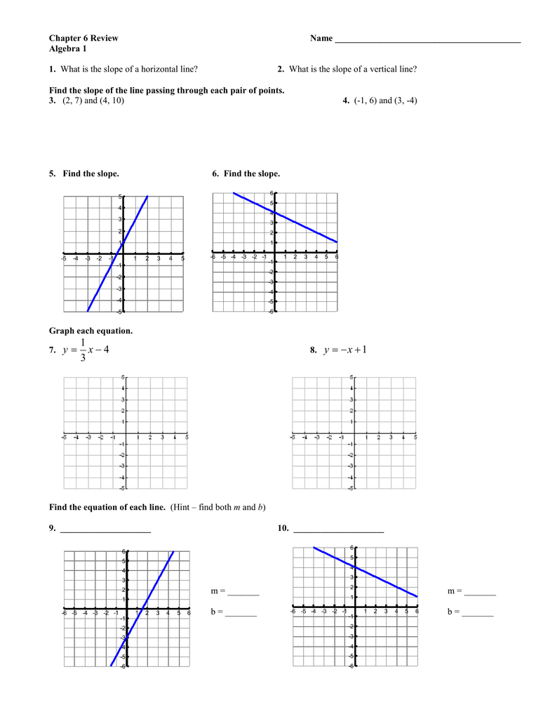 Chapter 6 Review Name Algebra 1