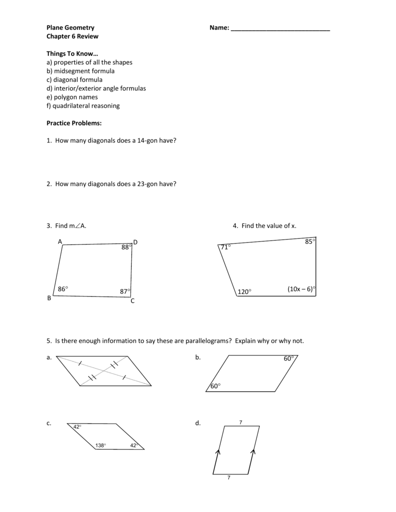 Chapter 6 Review Packet