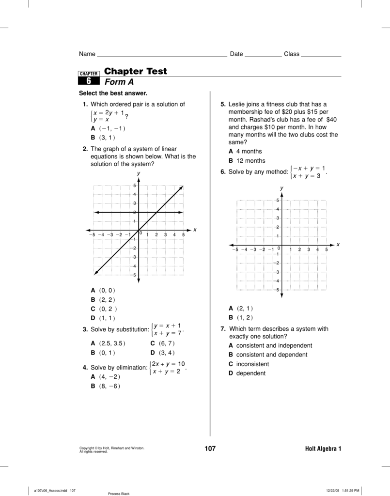 Chapter Test Form A