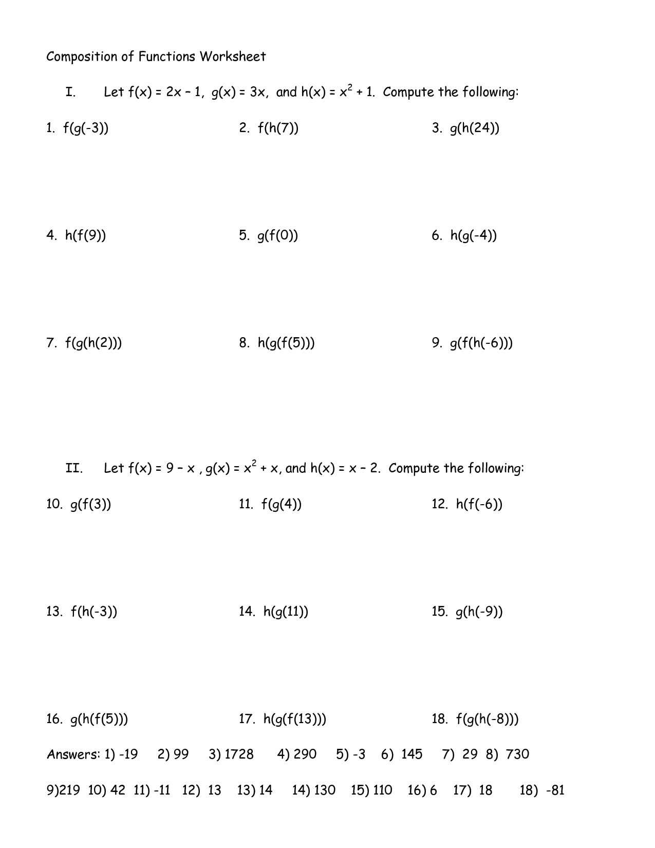 Composition And Inverse Function Worksheet   Printable