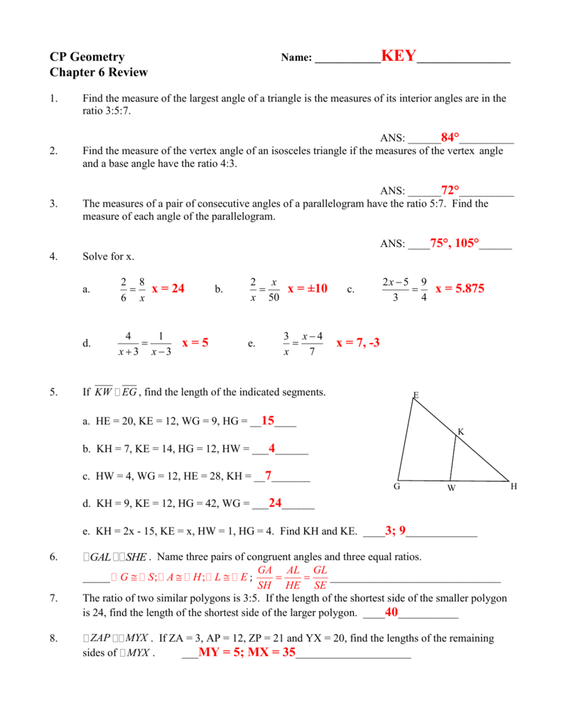 Cp Geometry Name: ______Key Chapter 6 Review 1. Find The