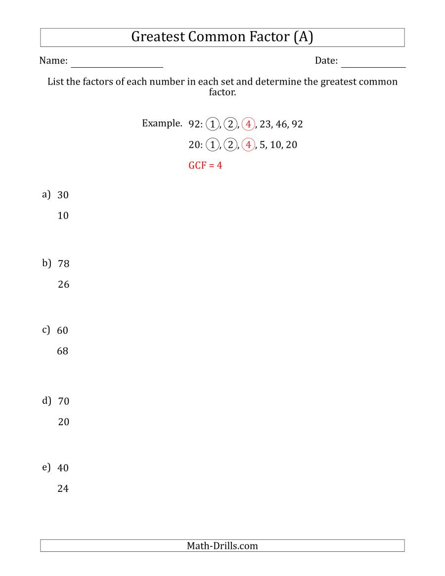 Determining Greatest Common Factors Of Sets Of Two Numbers