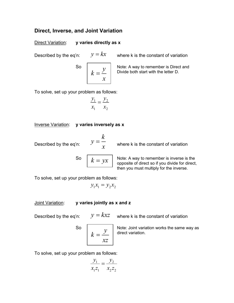 Direct And Inverse Variation Worksheet With Answers