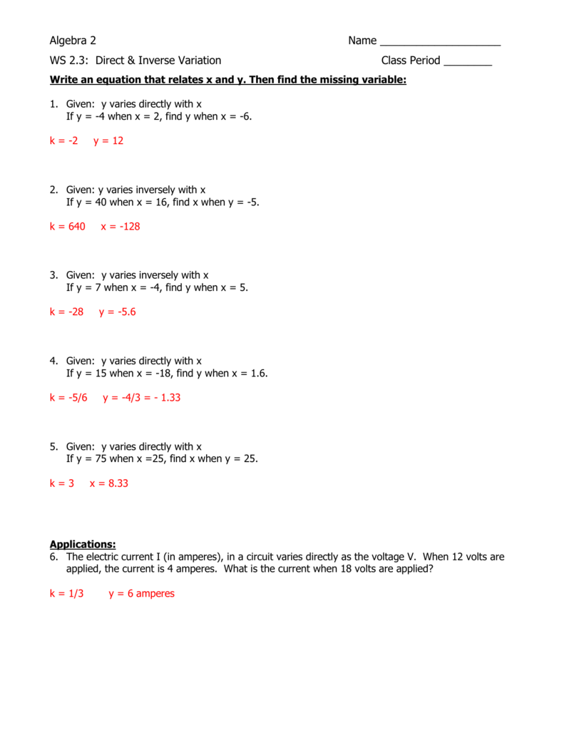 Direct And Inverse Variation Worksheet With Answers - Nidecmege
