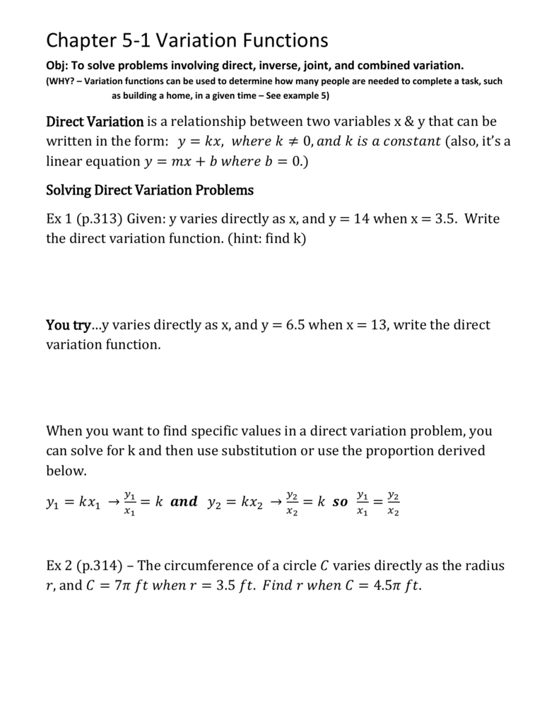 Direct Inverse And Joint Variation Worksheet Answers