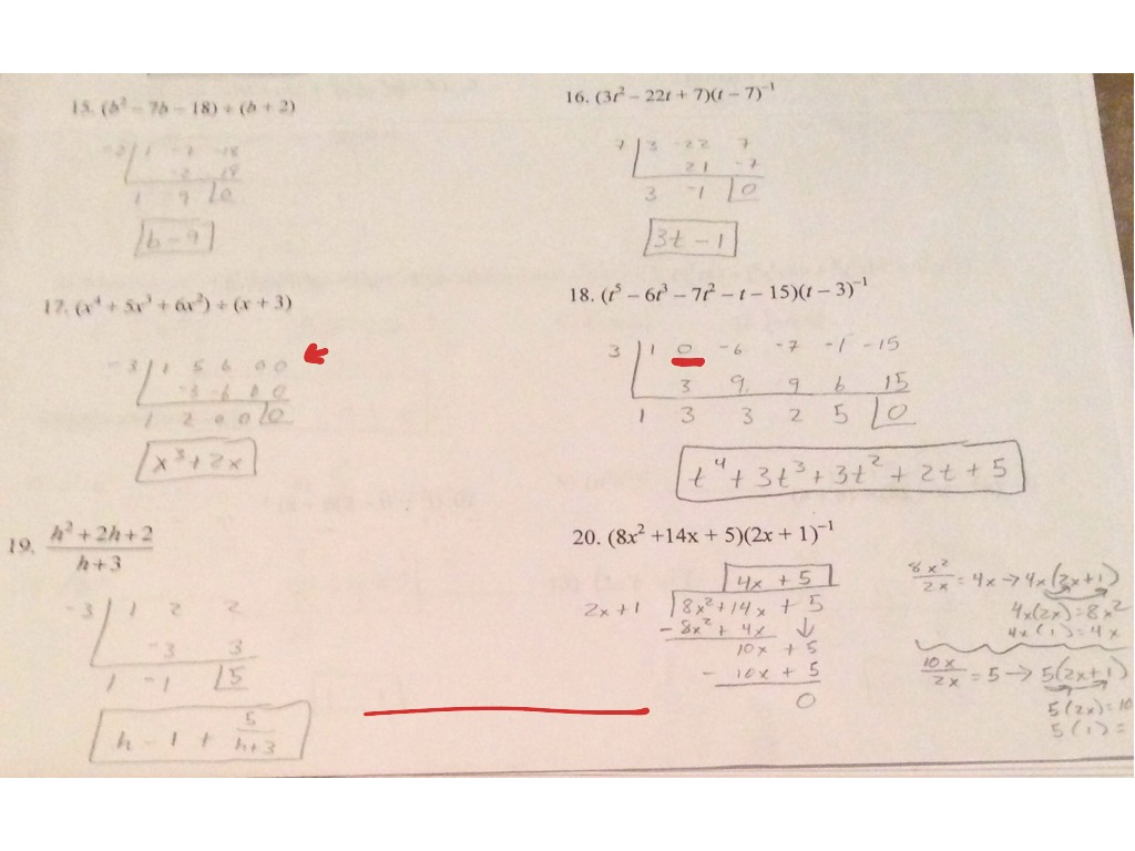 Division And Synthetic Worksheet Math Algebra Worksheets
