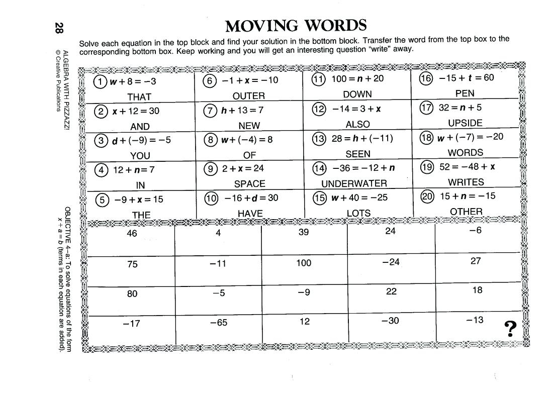 Do You Get When Math Worksheet With Pizzazz Worksheets