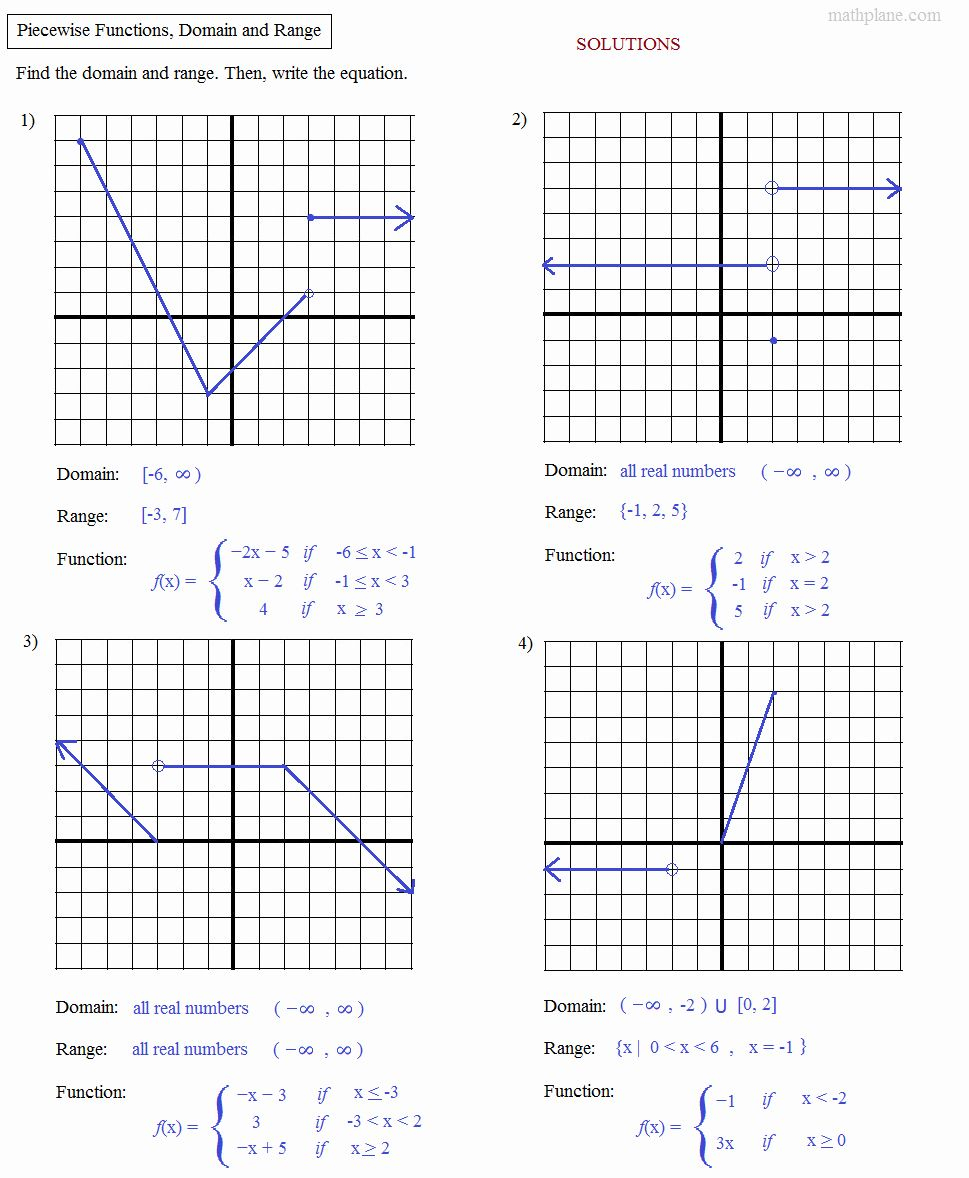 Domain And Range Graph Worksheet With Answers Elegant Math