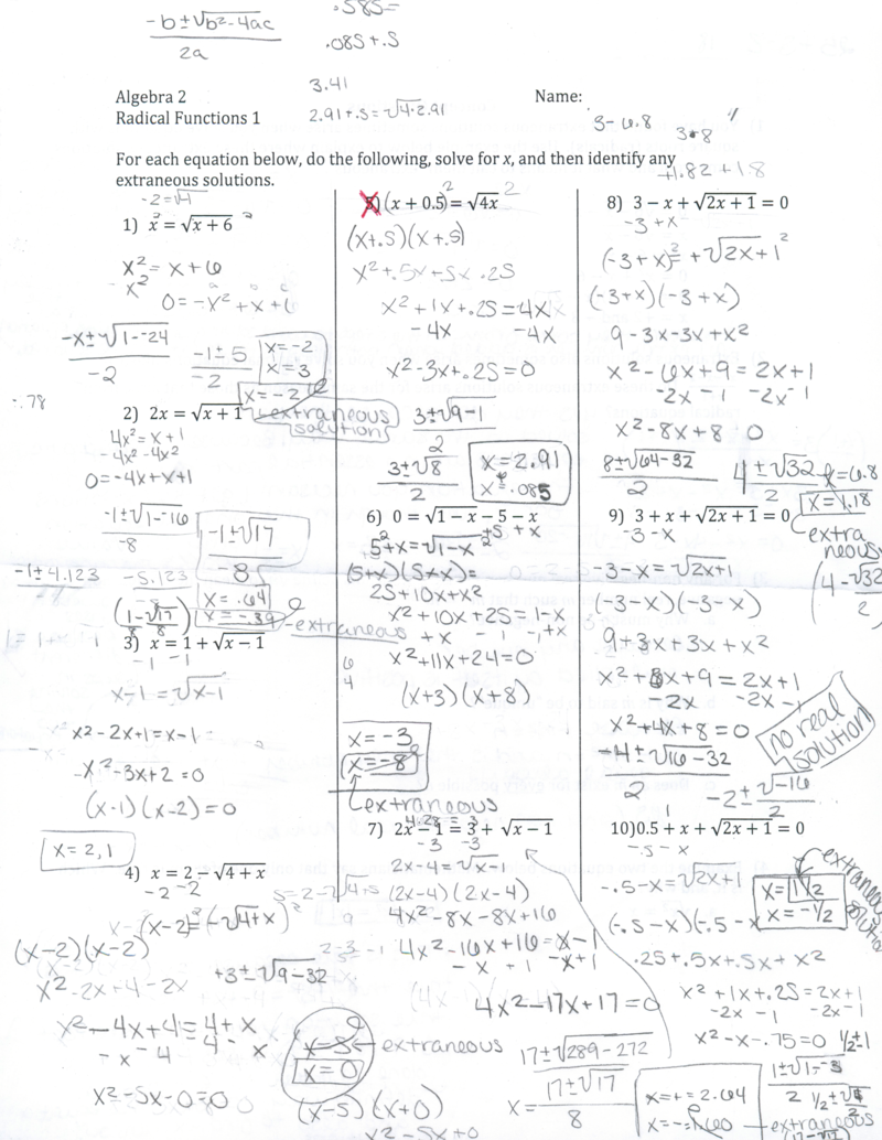 Eleventh Grade Lesson Solving Radical Equations Day 2