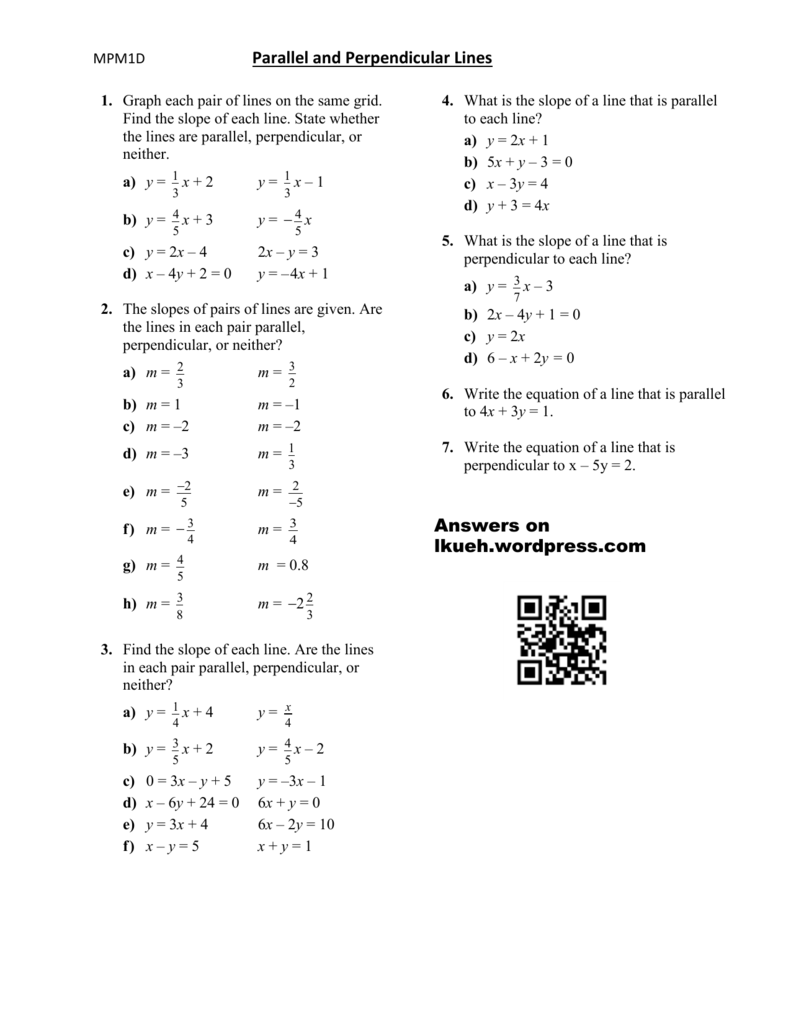 Equations Of Parallel Lines Worksheet - Promotiontablecovers