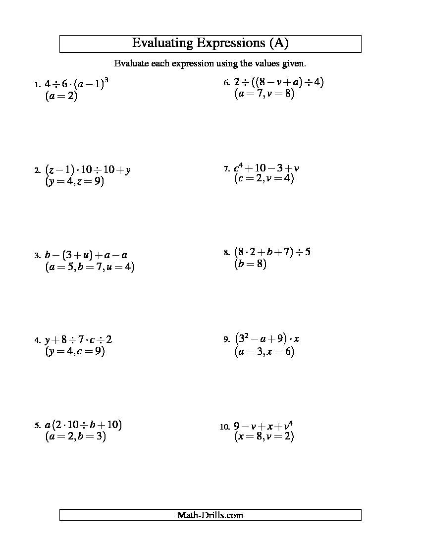 Evaluating Four-Step Algebraic Expressions With Three