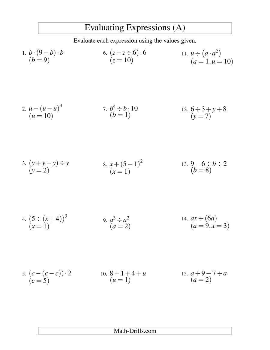 Evaluating Three-Step Algebraic Expressions With Two